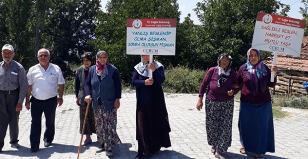 Pelitçik Köyü sakinleri sağlıklı yaşam için yürüdü