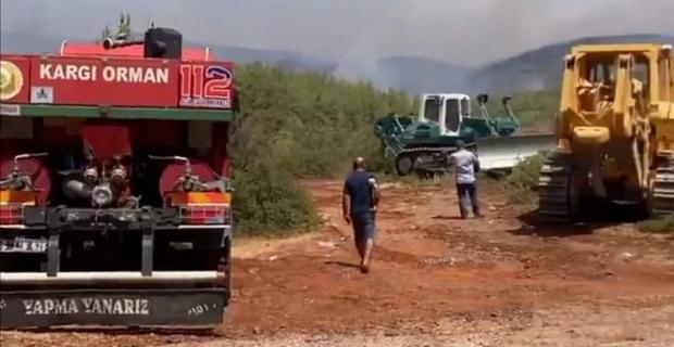 Kargı ekibi Marmaris'teki yangına müdahale ediyor